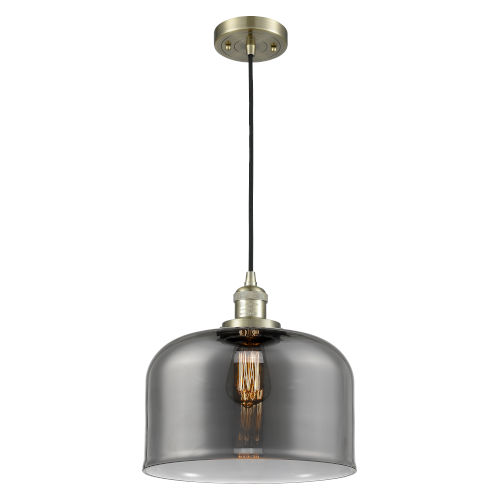 X-Large Bell Antique Brass LED Pendant with Smoked Glass