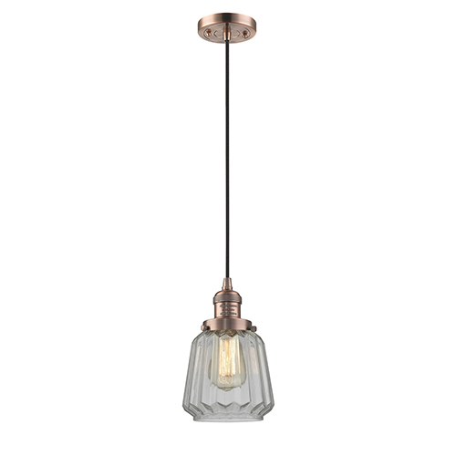 Innovations Lighting Chatham Antique Copper Six-Inch One-Light Mini Pendant with Clear Fluted Novelty Glass and Black Cord