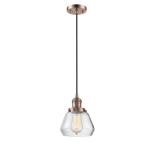 Fulton Antique Copper Seven-Inch One-Light Mini Pendant with Clear Sphere Glass and Black Cord