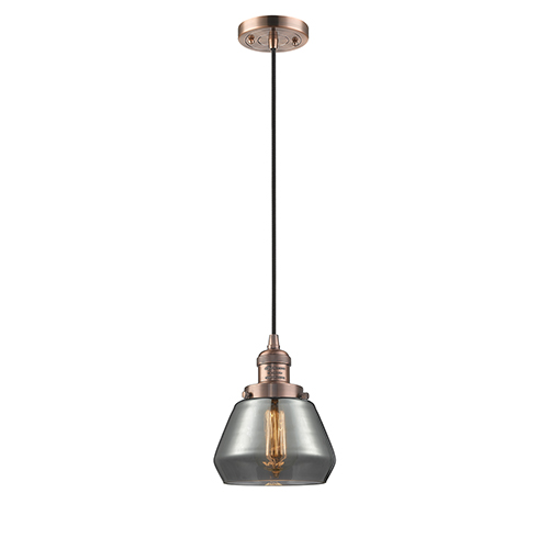 Fulton Antique Copper Seven-Inch LED Mini Pendant with Smoked Sphere Glass and Black Cord