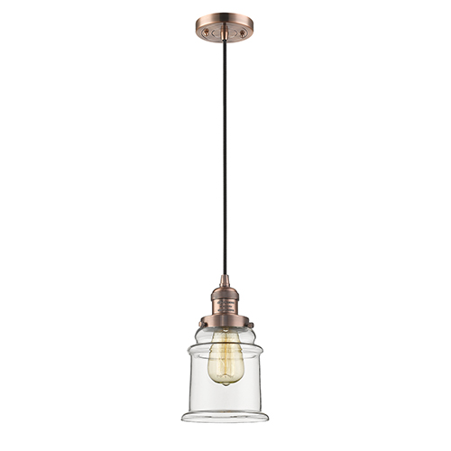 Innovations Lighting Canton Antique Copper Six-Inch One-Light Mini Pendant with Clear Bell Glass
