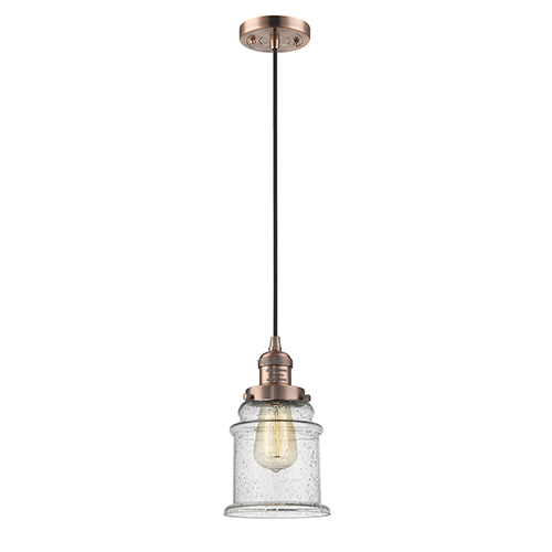 Innovations Lighting Canton Antique Copper Six-Inch LED Mini Pendant with Seedy Bell Glass