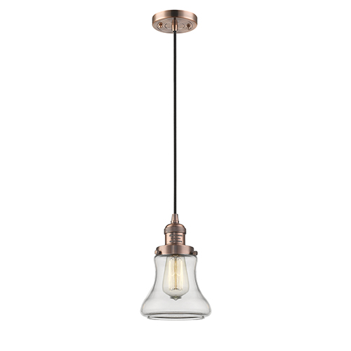Innovations Lighting Bellmont Antique Copper Six-Inch One-Light Mini Pendant with Clear Hourglass Glass