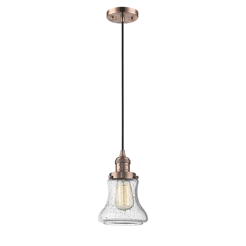 Innovations Lighting Bellmont Antique Copper Six-Inch One-Light Mini Pendant with Seedy Hourglass Glass