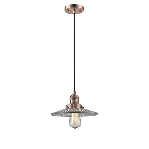 Innovations Lighting Halophane Antique Copper Nine-Inch LED Mini Pendant with Halophane Cone Glass and Black Cord