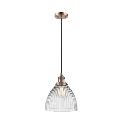 Innovations Lighting Seneca Falls Antique Copper 10-Inch One-Light Mini Pendant with Clear Dome Glass