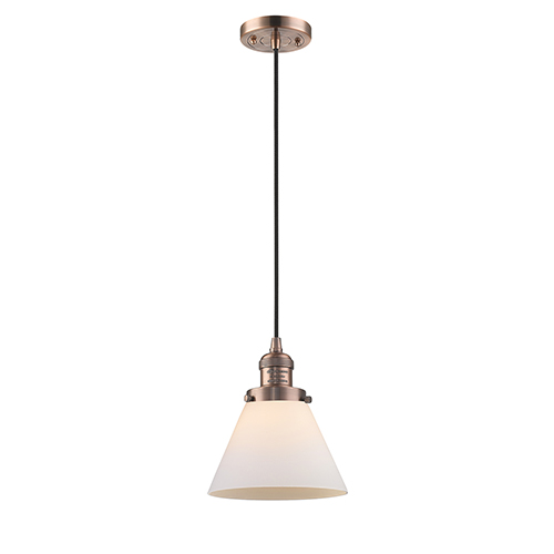 Innovations Lighting Large Cone Antique Copper Eight-Inch LED Mini Pendant with Matte White Cased Cone Glass and Black Cord