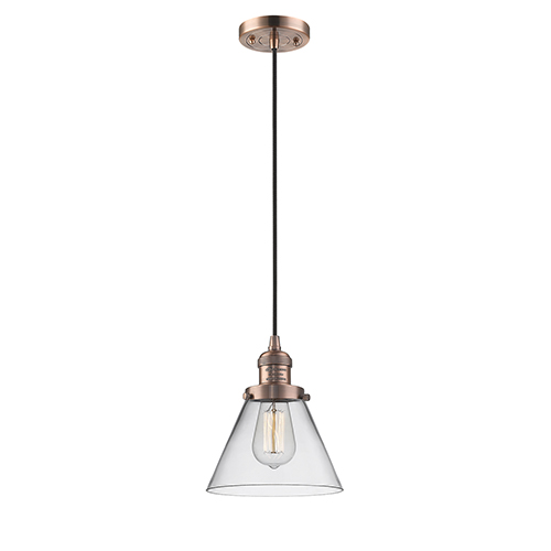Innovations Lighting Large Cone Antique Copper Eight-Inch LED Mini Pendant with Clear Cone Glass and Black Cord