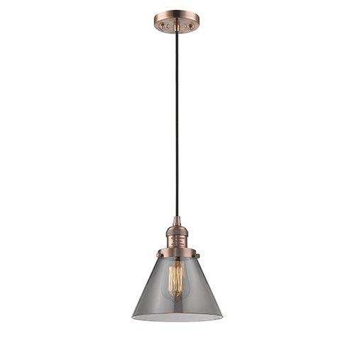 Innovations Lighting Large Cone Antique Copper Eight-Inch One-Light Mini Pendant with Smoked Cone Glass and Black Cord