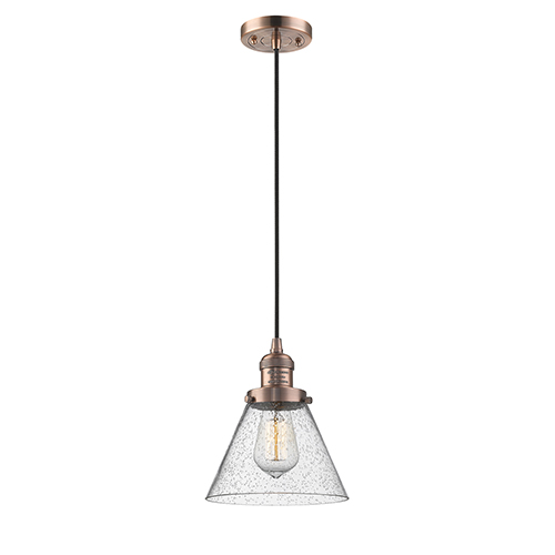Innovations Lighting Large Cone Antique Copper Eight-Inch One-Light Mini Pendant with Seedy Cone Glass and Black Cord