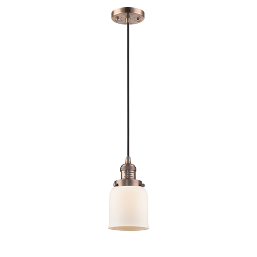Innovations Lighting Small Bell Antique Copper Five-Inch One-Light Mini Pendant with Matte White Cased Bell Glass and Black