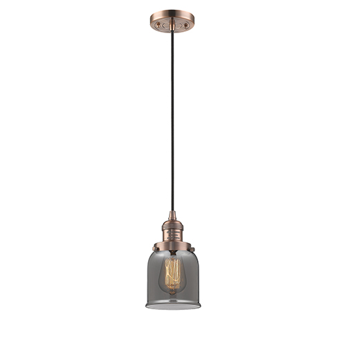 Innovations Lighting Small Bell Antique Copper Five-Inch LED Mini Pendant with Smoked Bell Glass and Black Cord