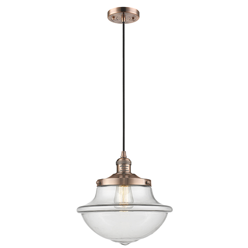 Innovations Lighting Oxford School House Antique Copper 12-Inch LED Pendant with Clear Bell Glass