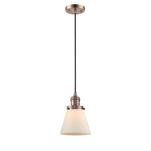 Small Cone Antique Copper Six-Inch LED Mini Pendant with Matte White Cased Cone Glass and Black Cord