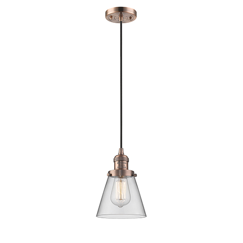 Innovations Lighting Small Cone Antique Copper Six-Inch LED Mini Pendant with Clear Cone Glass and Black Cord
