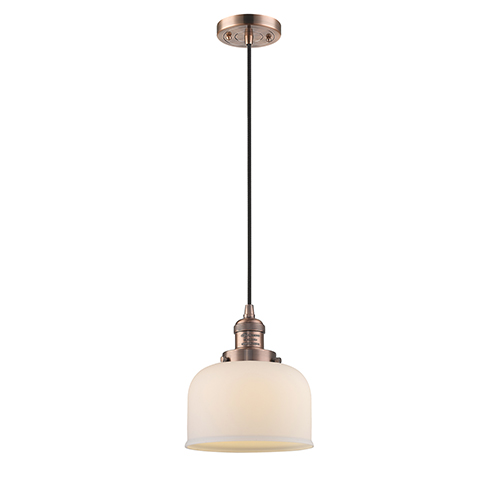 Innovations Lighting Large Bell Antique Copper Eight-Inch One-Light Mini Pendant with Matte White Cased Dome Glass and Black