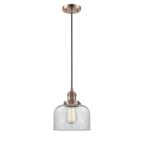 Large Bell Antique Copper Eight-Inch LED Mini Pendant with Clear Dome Glass and Black Cord