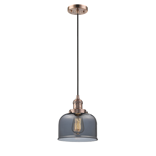 Large Bell Antique Copper Eight-Inch LED Mini Pendant with Smoked Dome Glass and Black Cord