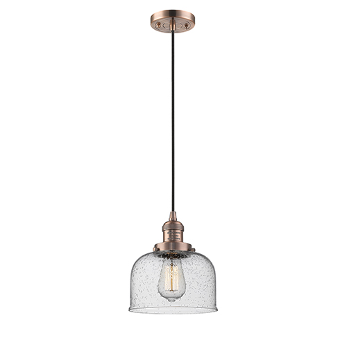 Innovations Lighting Large Bell Antique Copper LED Mini Pendant with Seedy Dome Glass and Black Cord
