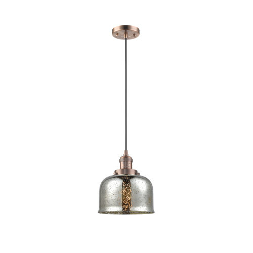 Large Bell Antique Copper LED Mini Pendant with Silver Plated Mercury Glass