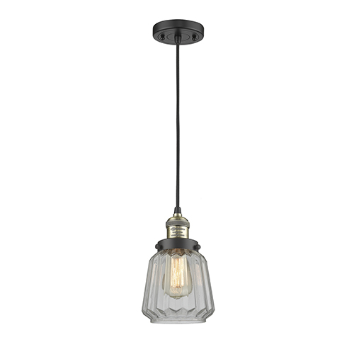 Chatham Black Antique Brass Six-Inch One-Light Mini Pendant with Clear Fluted Novelty Glass and Black Cord