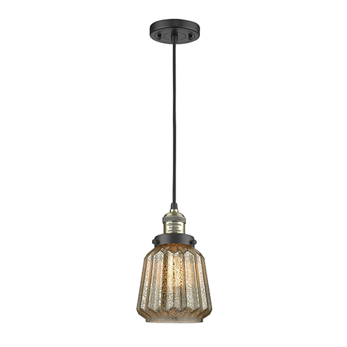 Innovations Lighting Chatham Black Antique Brass Six-Inch One-Light Mini Pendant with Mercury Fluted Novelty Glass and Black