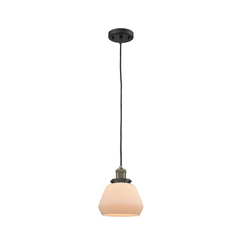 Fulton Black Antique Brass Seven-Inch LED Mini Pendant with Matte White Cased Sphere Glass and Black Cord
