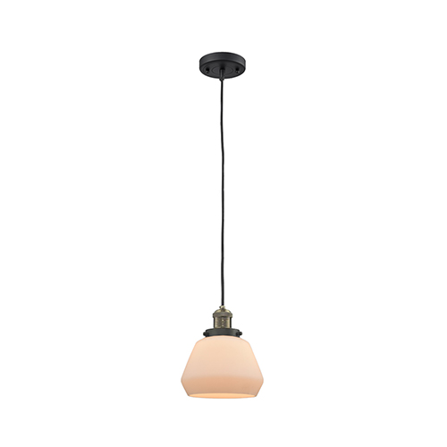 Innovations Lighting Fulton Black Antique Brass Seven-Inch One-Light Mini Pendant with Matte White Cased Sphere Glass and