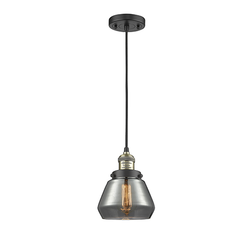Innovations Lighting Fulton Black Antique Brass Seven-Inch One-Light Mini Pendant with Smoked Sphere Glass and Black Cord