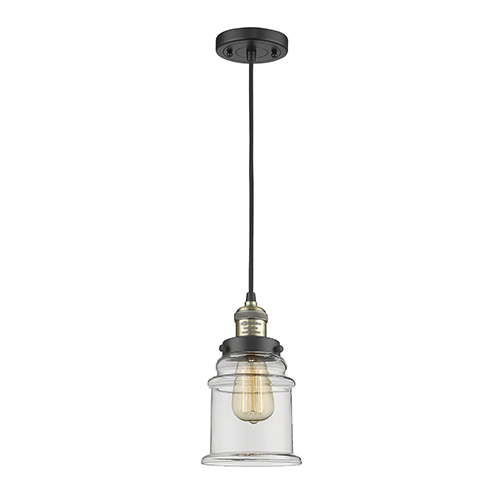 Canton Black Antique Brass Six-Inch One-Light Mini Pendant with Clear Bell Glass and Black Cord