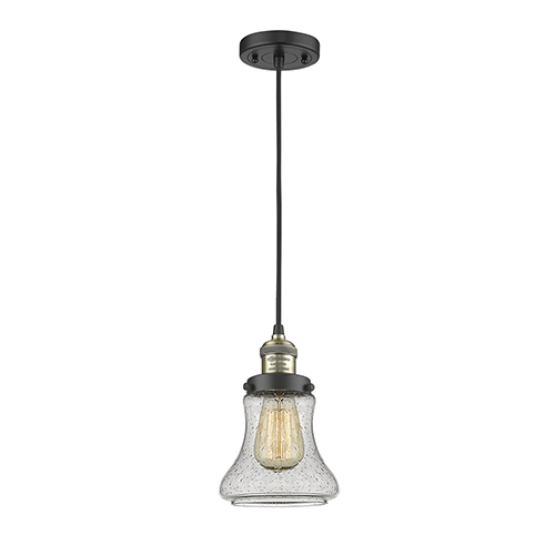 Innovations Lighting Bellmont Black Antique Brass Six-Inch One-Light Mini Pendant with Seedy Hourglass Glass