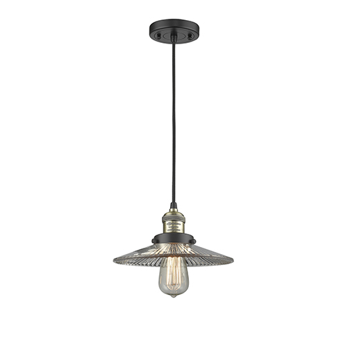 Innovations Lighting Halophane Black Antique Brass Nine-Inch LED Mini Pendant with Halophane Cone Glass and Black Cord
