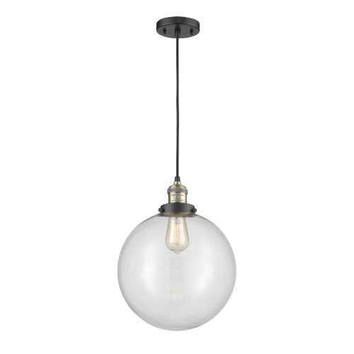 Franklin Restoration Black Antique Brass 12-Inch LED Pendant with Clear Beacon Shade and Black Textured Cord