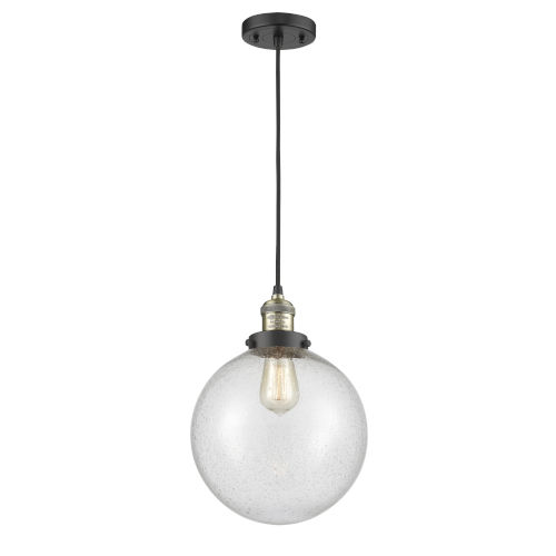 Franklin Restoration Black Antique Brass 10-Inch LED Pendant with Seedy Beacon Shade and Black Textured Cord