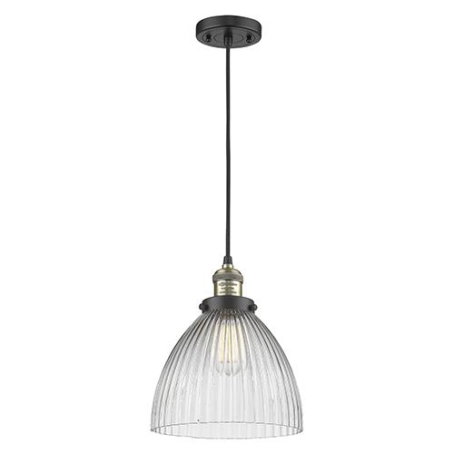 Seneca Falls Black Antique Brass 10-Inch LED Mini Pendant with Clear Dome Glass