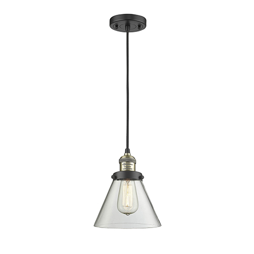 Innovations Lighting Large Cone Black Antique Brass Eight-Inch One-Light Mini Pendant with Clear Cone Glass and Black Cord