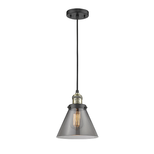 Innovations Lighting Large Cone Black Antique Brass Eight-Inch LED Mini Pendant with Smoked Cone Glass and Black Cord