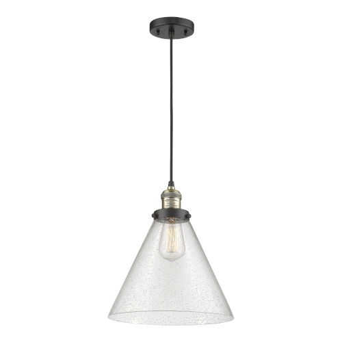 X-Large Cone Black Antique Brass LED Pendant with Seedy Glass