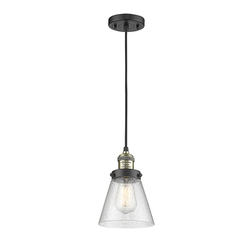 Innovations Lighting Large Cone Black Antique Brass Eight-Inch LED Mini Pendant with Seedy Cone Glass and Black Cord