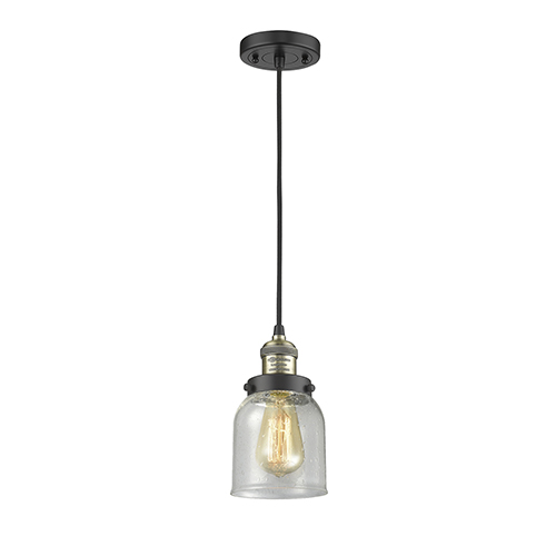 Innovations Lighting Small Bell Black Antique Brass Five-Inch LED Mini Pendant with Seedy Bell Glass and Black Cord