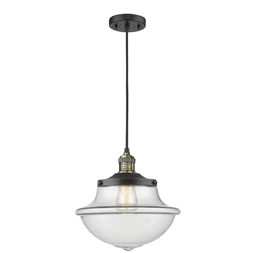 Led schoolhouse pendant lighting free shipping bellacor oxford school house black antique brass 12 inch led pendant with clear bell glass aloadofball Gallery