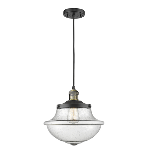 Innovations Lighting Oxford School House Black Antique Brass 12-Inch LED Pendant with Seedy Bell Glass