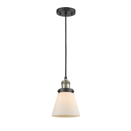 Innovations Lighting Small Cone Black Antique Brass Six-Inch LED Mini Pendant with Matte White Cased Cone Glass and Black