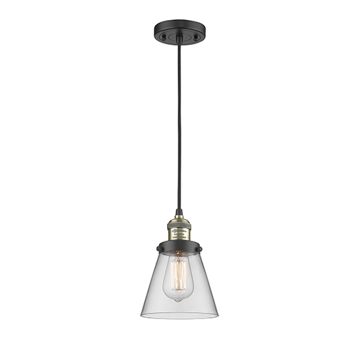 Innovations Lighting Small Cone Black Antique Brass Six-Inch LED Mini Pendant with Clear Cone Glass and Black Cord