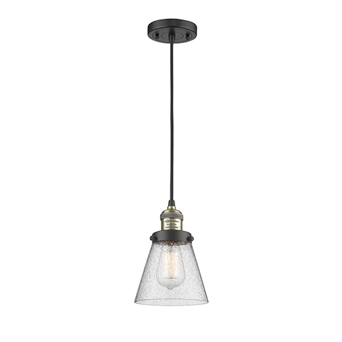 Innovations Lighting Small Cone Black Antique Brass Six-Inch One-Light Mini Pendant with Seedy Cone Glass and Black Cord
