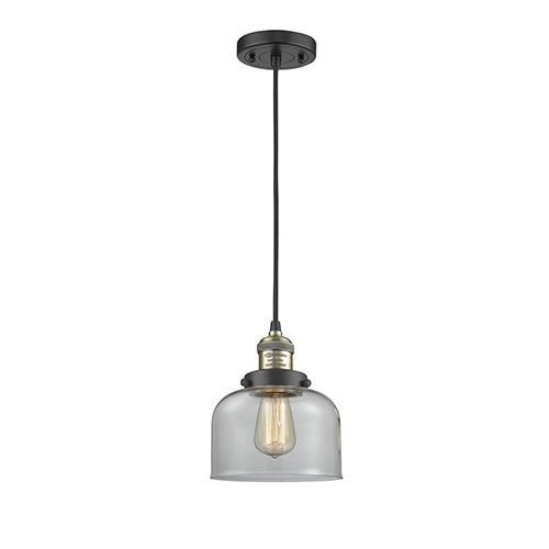 Innovations Lighting Large Bell Black Antique Brass Eight-Inch LED Mini Pendant with Clear Dome Glass and Black Cord