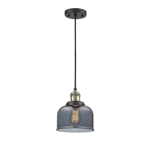 Innovations Lighting Large Bell Black Antique Brass Eight-Inch One-Light Mini Pendant with Smoked Dome Glass and Black Cord