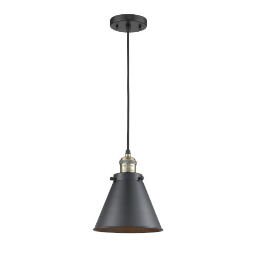 Franklin Restoration Matte Black Antique Brass LED Mini Pendant with Appalachian Matte Black Metal Shade and Black Textured