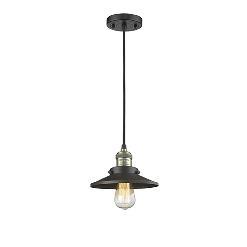 Railroad Black Antique Brass Eight-Inch LED Mini Pendant with Matte Black Metal Shade and Black Cord