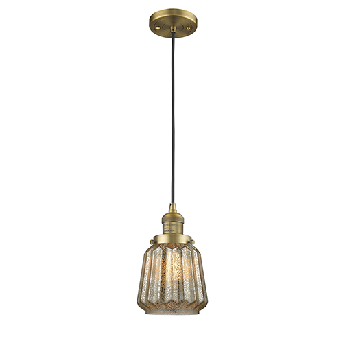 Innovations Lighting Chatham Brushed Brass Six-Inch LED Mini Pendant with Mercury Fluted Novelty Glass and Black Cord